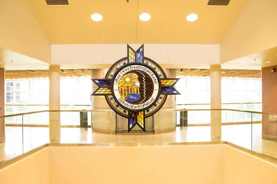 The seal of the White Earth Nation hangs in the lobby of the tribal headquarters in Ogema, Minnesota. © Jolene Yazzie for Al Jazeera America