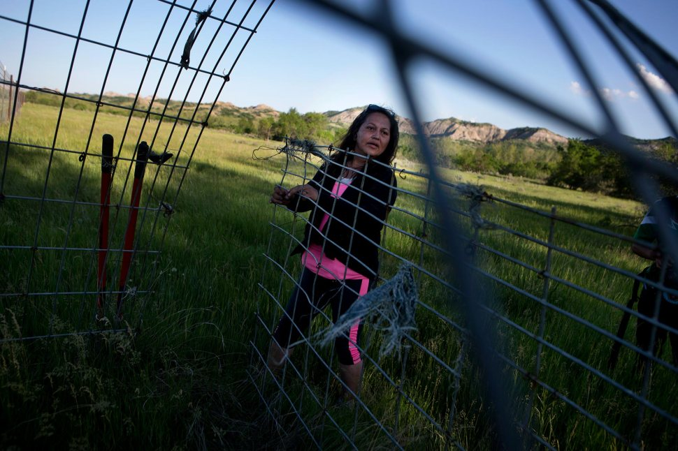 In this June 12, 2015 photo, Lissa Yellowbird-Chase opens a livestock gate after a day of digging and searching for Kristopher ìKCî Clarke along the Little Missouri River in North Dakota. Clarke, an oil field worker, was killed in 2012 on the Fort Berthold Reservation. Yellowbird-Chase and her Sahnish Scouts volunteers have been searching for the body. © Kristina Barker